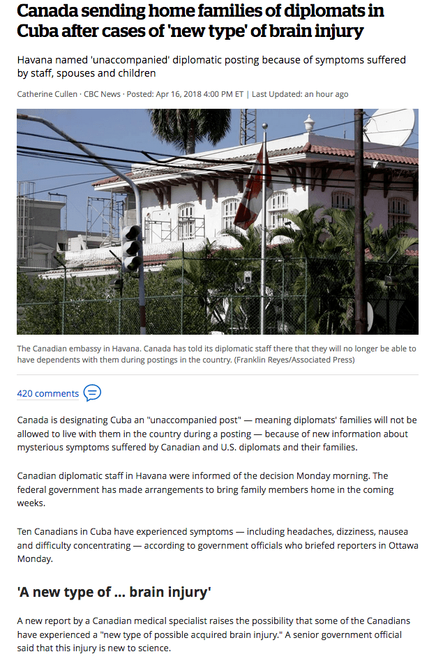 2018-08-31 Report linking mystery illnesses in Cuban embassy with