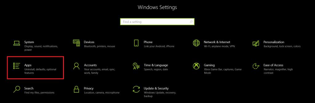 Setting - Apps - Windows 10