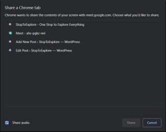 Share Chrome Tab - Google Meet