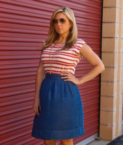 Hot Brandi Passante In A Tight Striped Top and Skirt