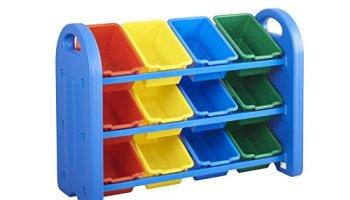 ecr4kids 3 tier toy storage organizer with 12 bins - Tot Tutors Book Rack Primary Colors