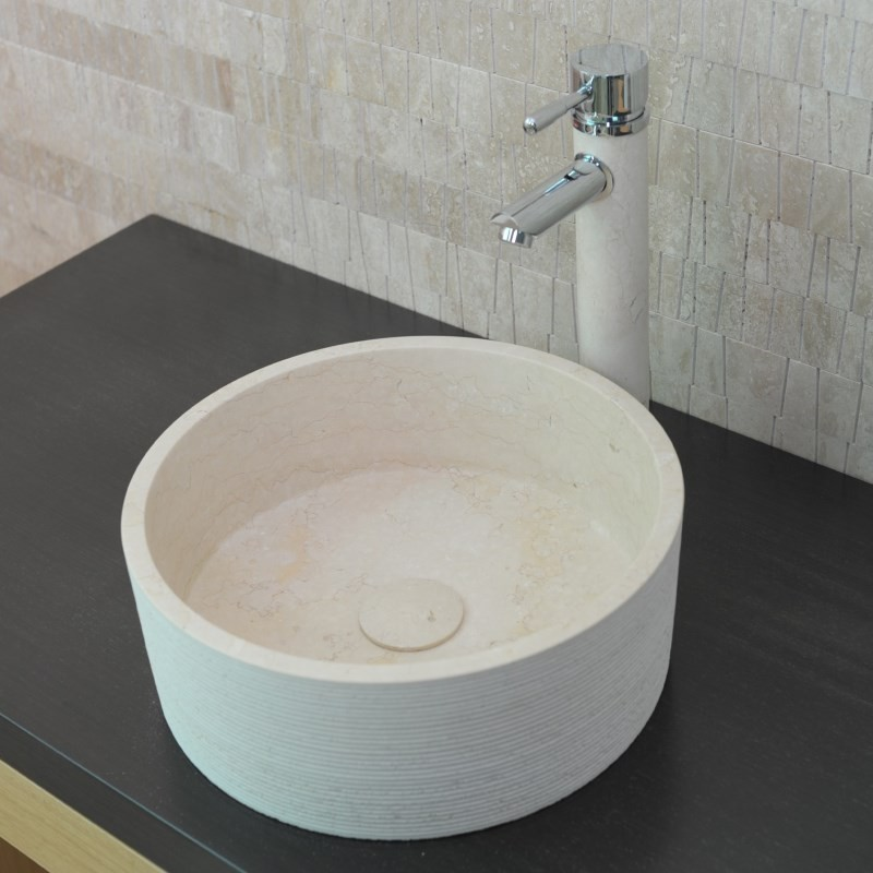 vasque ronde pierre naturelle beige