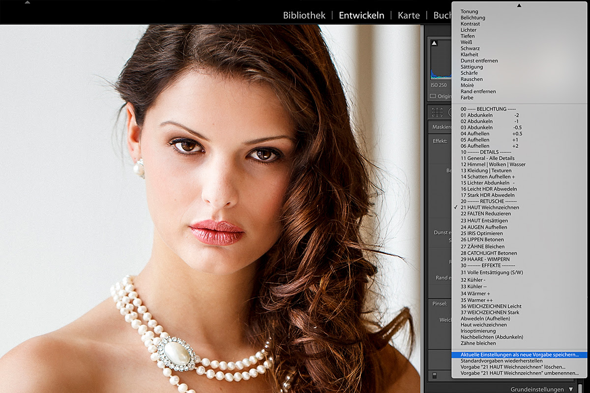 Portrait-Retusche mit Pinseln in Lightroom