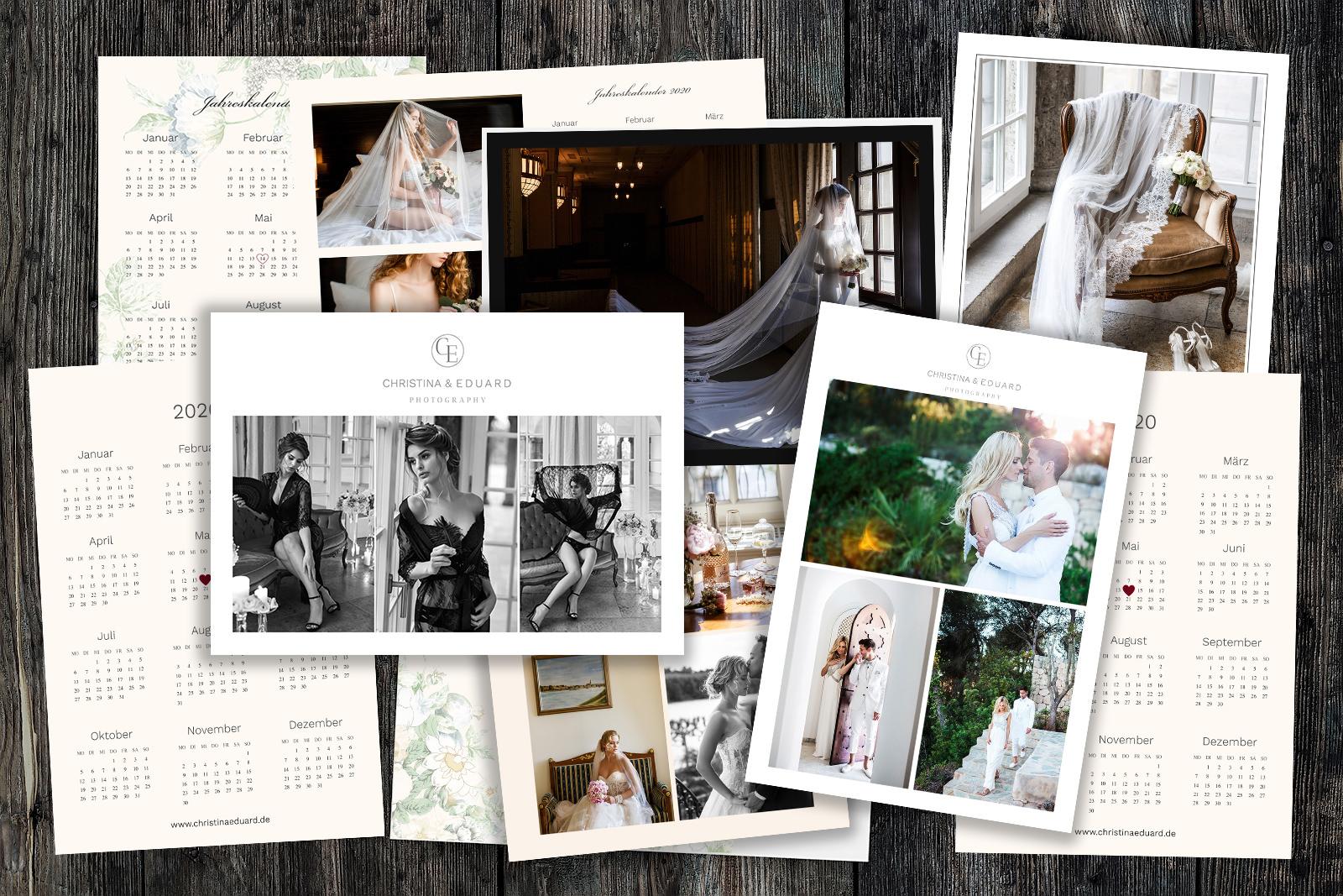 Brautpaar-Kalender 2018 Photoshop-Vorlagen