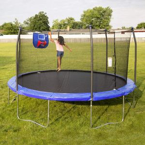 Trampoline with Safety Enclosed and Basketball Hooks for kids and Adult2