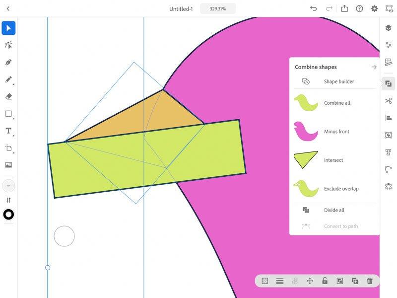 combinand forme Adobe Illustrator iPad