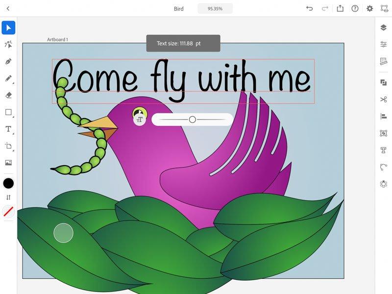 comenzile sub text Adobe Illustrator iPad