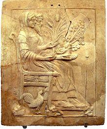 Persefone e Ade seduti sul trono (V secolo a.C.), pinax conservato presso il Museo nazionale della Magna Grecia di Reggio Calabria