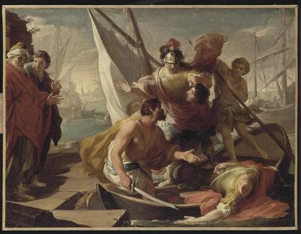Anonimo, La morte di Pompeo, XVIII sec., Digione, Museo nazionale Magnin