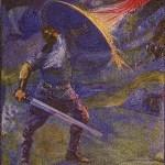 Beowulf combatte contro il drago, disegno per una serie a fumetti del 1908