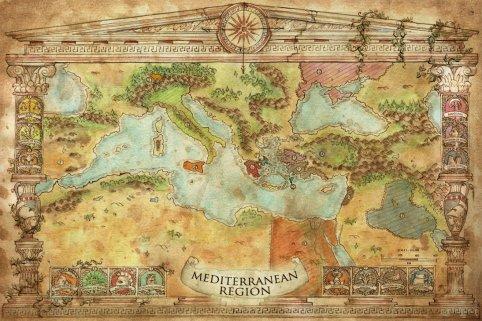 Mappa per Swords of Kos di Francesca Baerald