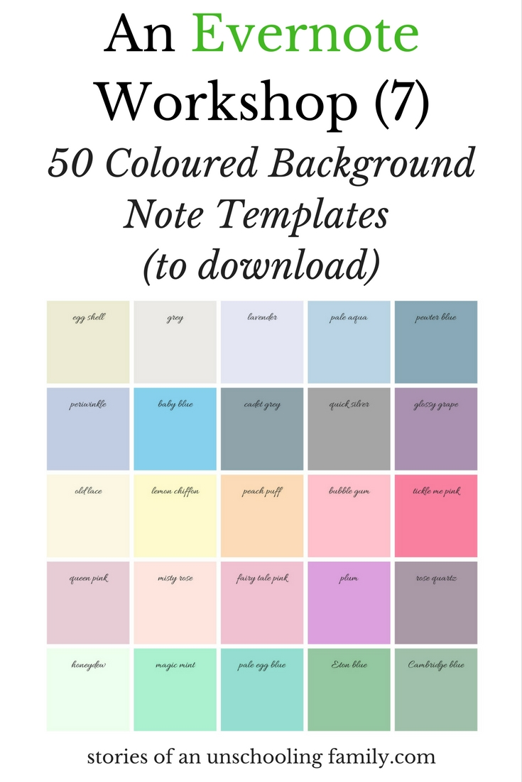 An Evernote Workshop 7 50 Coloured Background Note Templates To