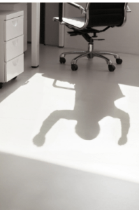 fear chases shadow statement reflected in shadow image, empty desk, empty desk chair