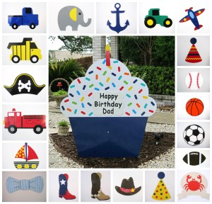 Navy Blue Cupcake & Toppers