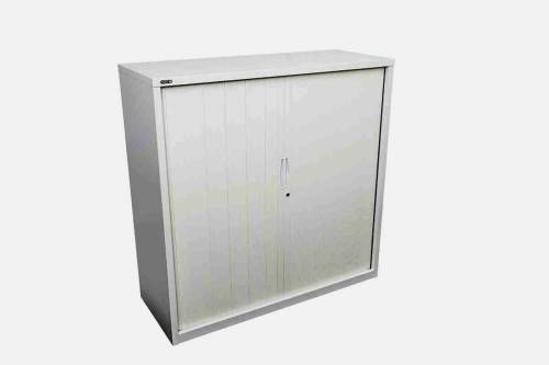 tambour door cabinet silver