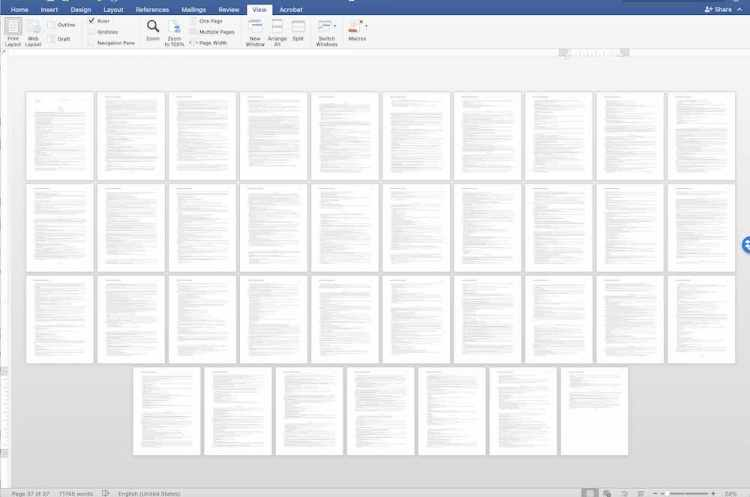 This is what a 70,000-word novel looks like when shrunken to a singular view.