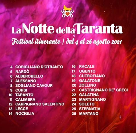 Notte della Taranta Festival 2021 le tappe