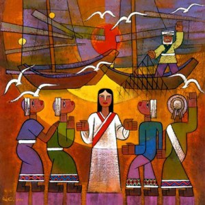 """""""Calling Disciples"""" (painting), He Qi, 2001"""
