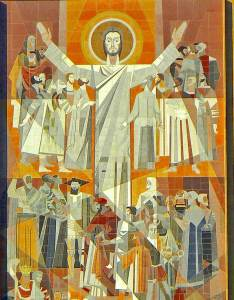 """""""Word of Life"""" (mural in stone), Millard Sheets, 1964, at University of Notre Dame, South Bend, Indiana"""
