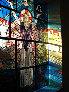 """Christ our Light"", 20th century stained glass in Holy Rosary Priory, Bushey, UK"