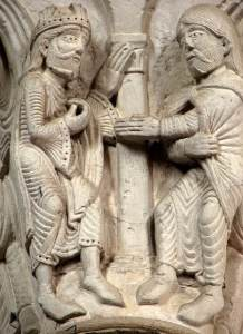 Nathan rebukes David, carving in the nave of Basilique de la Madeleine (Vézelay, France), c. 1130