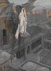 """""""Jesus Carried Up to a Pinnacle of the Temple"""" - watercolor by James Jacques Joseph Tissot, c. 1886-1894"""