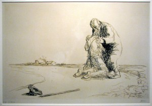 """""""Prodigal Son"""", drawing by Jean Louis Forain (1852-1931)"""