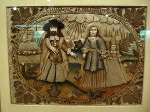 """Abraham casting out Hagar and Ishmael,"" needlework in the Burrell Collection, Glasgow, Scotland"