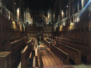 Inside the chapel, looking from the altar-end toward the back