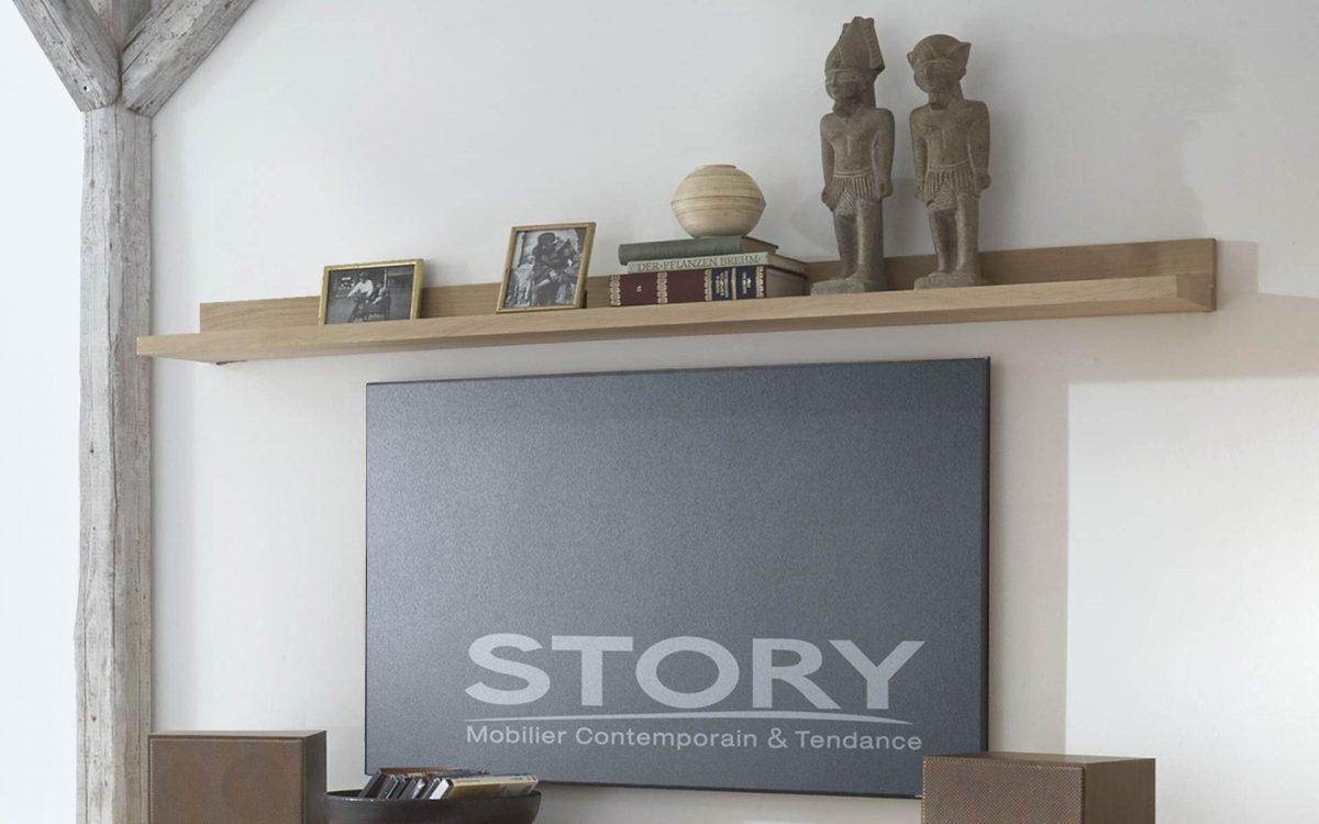 meuble tv chene pietement metal story
