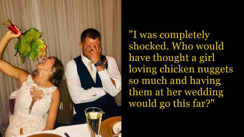 Bride Has A Bouquet Made Of Chicken Nuggets At Her Wedding & Eats Them At Her Reception
