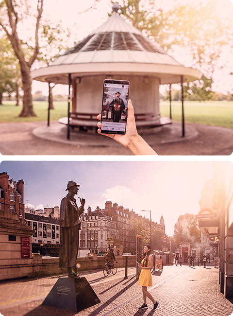Two images, where the first one shows a person who is taking a self-guided walking tour holding a smartphone. On the screen, the image of the guide is visible. In the second image, a woman taking a self-guided walking tour is standing in front of the Sherlock Holmes statue by Baker street station