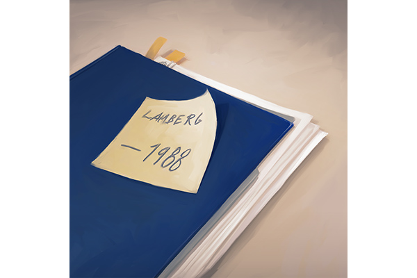 """An image of an evidence folder. On it is a postit that says """"Lamberg 1988"""""""