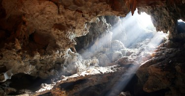 Cave, light shining through
