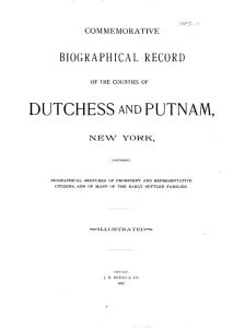 Commemorative Biographical Record of the Counties of Dutchess and Putnam, New York