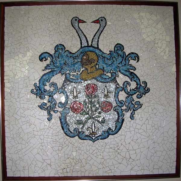 "Hyde Park Crest Mosaic, Town Hall Conference Room, Hyde Park, New York. A marvelous mosaic created by local students, the crest is a ""marriage"" between the Roosevelt and Stoutenburgh family crests."