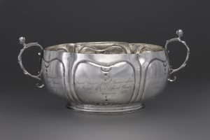 Two-Handled Bowl by Bartholomew Le Roux: The maker was the first of his family to work in New York, where he was active 1689-1713.