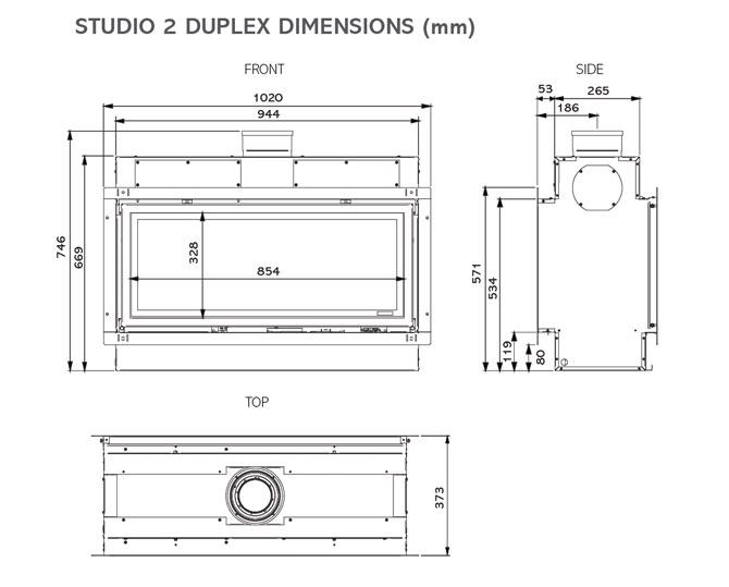 Studio Duplex Gas Fires Dimensions