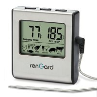 RenGard RG-16 Cooking Digital Probe Thermometer with Alarm and manual countdowns settings - Instant Read Barbecue Smoker Grill Thermometer - Bring the flavor of deluxe recipes right to you!