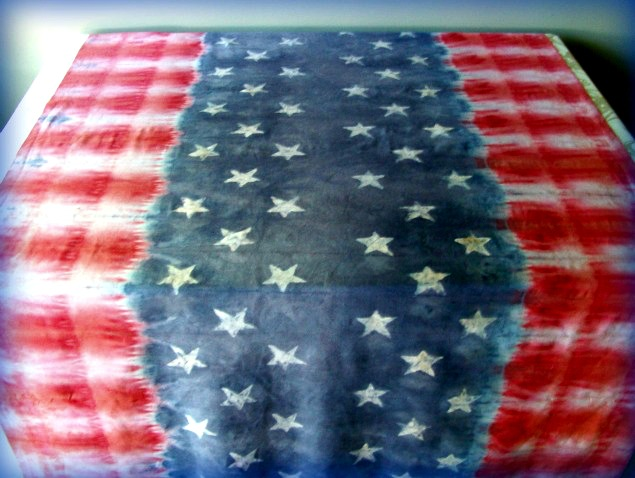 Patriotic-stars-and-stripes-table-cloth-with-tie-dye-faux-batik
