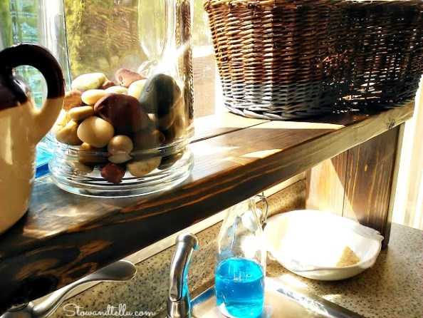 sun bleach stained over the sink window shelf - StowandTellU.com