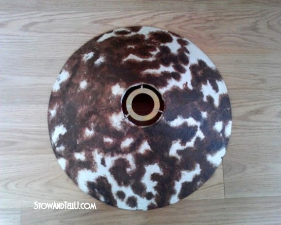 Faux cowhide lampshade