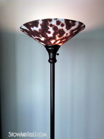 How to make a Faux Cowhide lamp shade - StowandTellU.com
