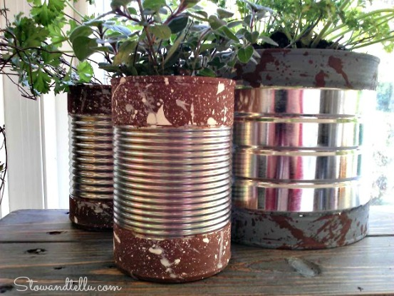 Paint Dipped Soup Cans with splatter paint texture-StowandTellU
