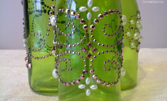 Green beaded bottles made with Michaels craft supplies