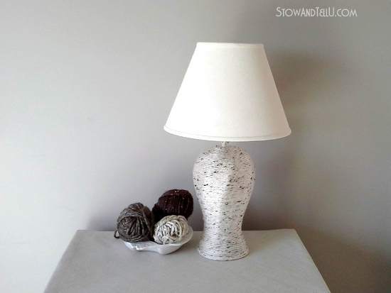 how to make a yarn wrapped lamp
