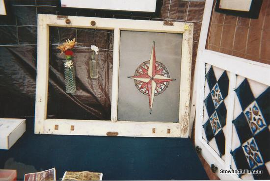 compass rose-faux stained glass painting-red-and-yellow-compass-rose