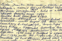 hand written note of margaret's tory