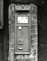 postbox on clay lump shed by The Green (1970)