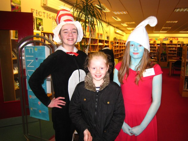 Dara and Katie with a P7 Pupil in the Library